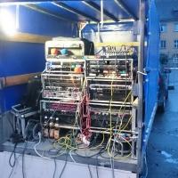 Verbrennung auf dem Stephansplatz: Die Technik für die Veranstaltung war aufgebaut.