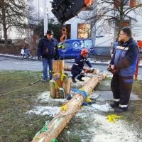 Narrenbaumfällen auf dem Gottmannplatz: Dann wurde der Baum mit dem Kran umgelegt und in Stücke zersägt.