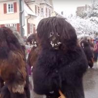 Schneeschreck und Räuber beim Umzug in Aldingen.