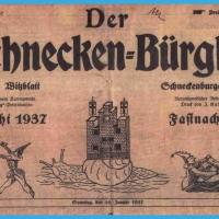 Der Schneckenbürgler. Das amtliche Witzblatt des Narrenvereins. Ein Titelblatt aus dem Jahre 1937.